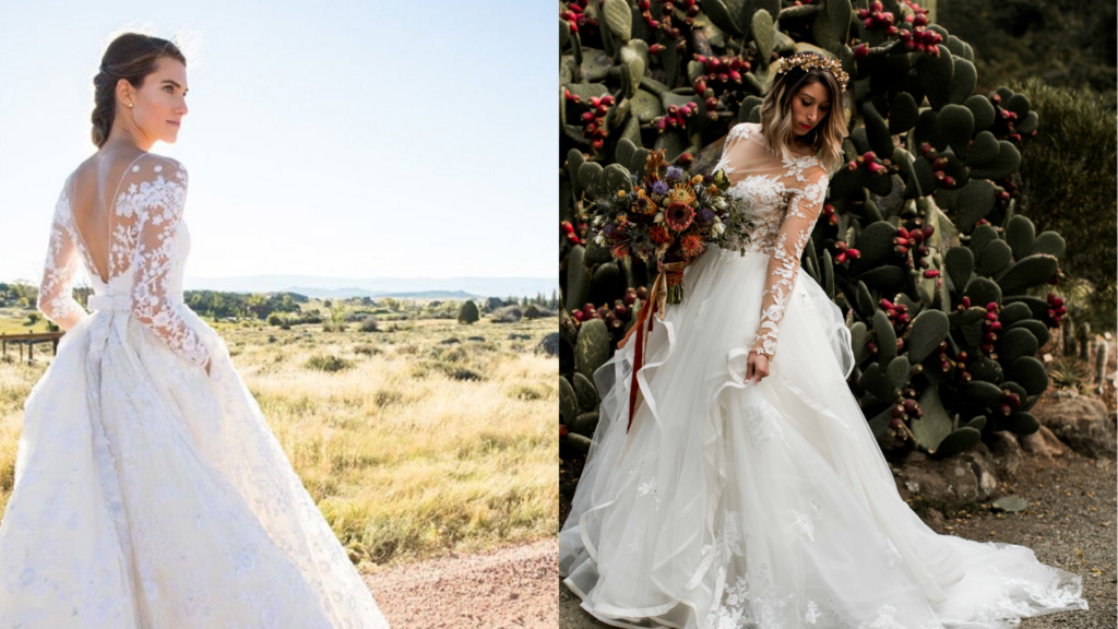 Allison Williams is wearing her illusion lace floral wedding dress. On the right side, a bride purchased a customized wedding dress from online with illusion lace and a tiered ball gown.