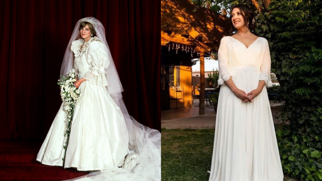 Princess Diana wears a wedding dress with royal puffy sleeves. On the right side, a bride customized her online wedding dress with long sleeve wedding dress. These sleeves are scalloped butterfly sleeves on her wedding dress.