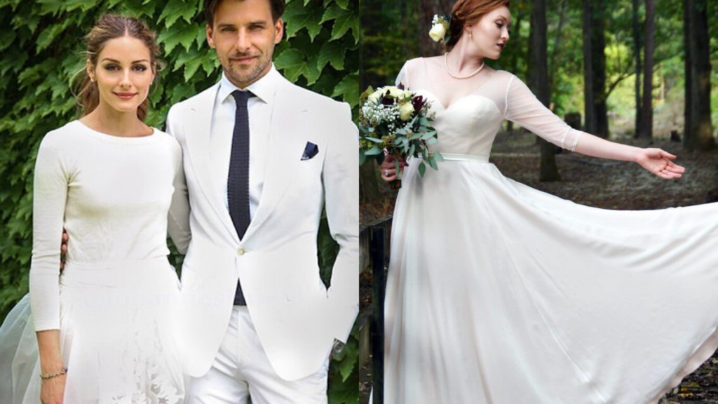 Olivia Palermo chooses a wedding dress with simple long sleeves. Customizing her dress, the Anomalie bride designed her long-sleeved wedding dress with Silk Georgette used for the bodice, skirt & even the sheer long sleeves.