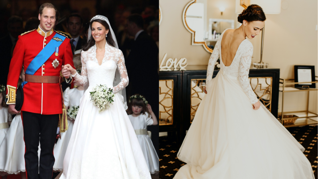 Kate Middleton's long sleeve wedding dress is an A-line with delicate lace sleeves. The bride on the right has a low back with lace long sleeves on her wedding dress.
