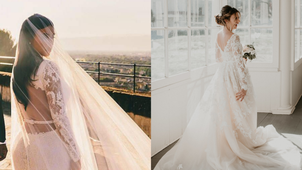 Kim Kardashian chose a wedding dress with a low back and sheer illusion lace sleeves. On the right, the bride designed a custom wedding dress with similar long sleeves on her wedding dress.