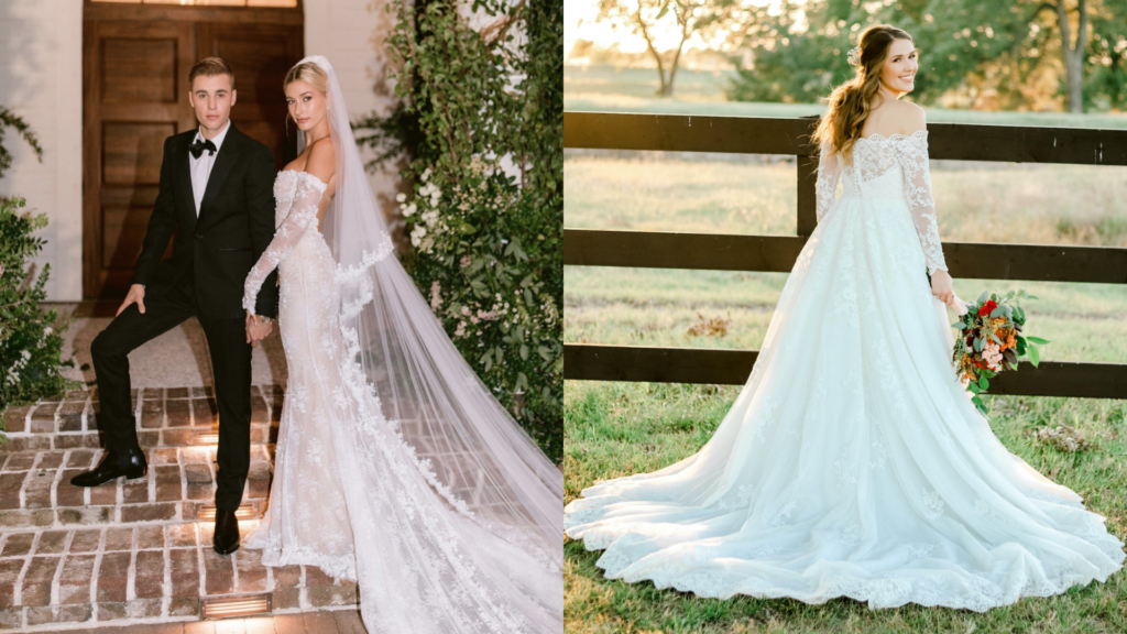 Haley Bieber's off-the-shoulder look is dazzling with its simple lace. Our bride on the right also has lace long sleeves paired with her wedding dress.