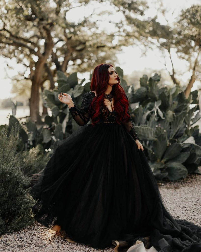 Black wedding dresses are the perfect custom color for the bold bride.