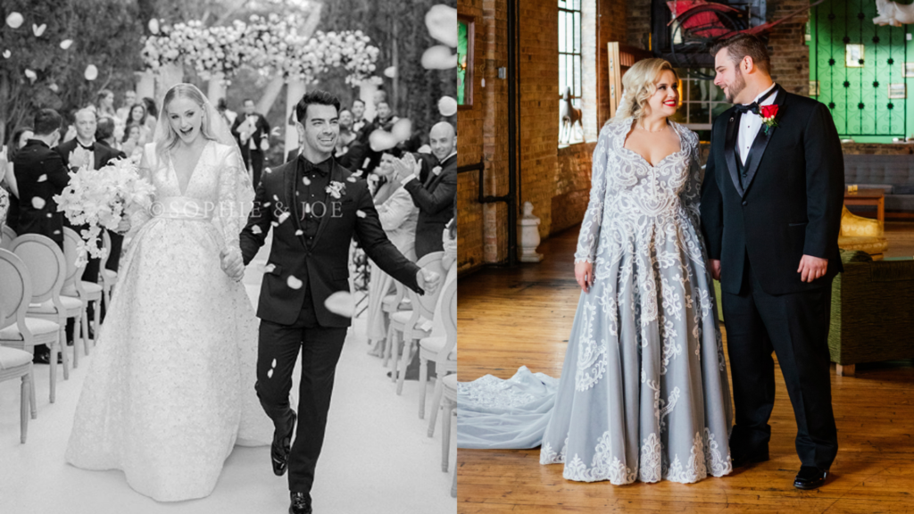Sophie Turner wears long sleeves with structured shoulders and the bride on her right has long sleeves with a colored wedding dress.