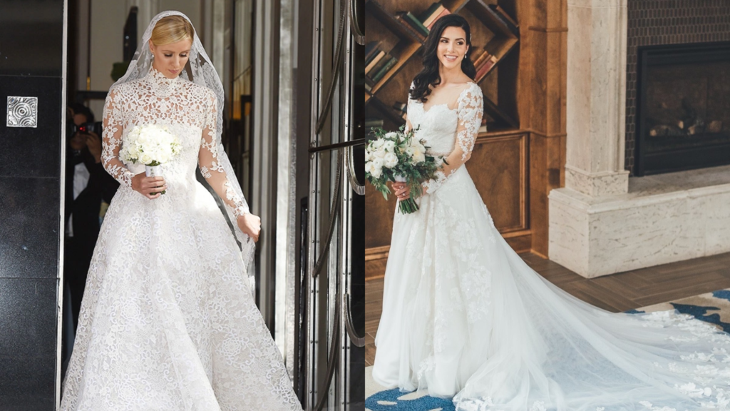 Nicky Hilton's all-over-lace wedding dress with long sleeves is a callback to inspired wedding dresses. The bride on the right also has long sleeves with lace on her wedding dress.