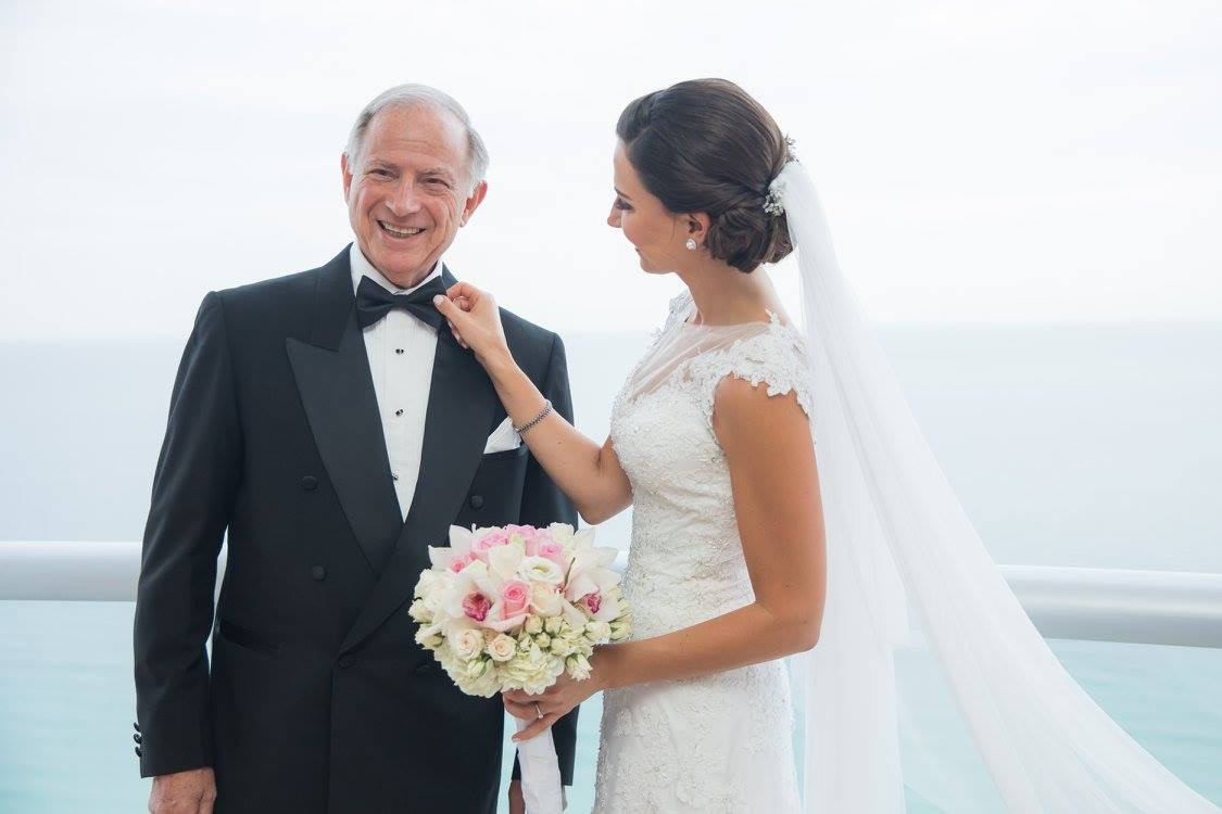 Father of the bride and custom wedding dress