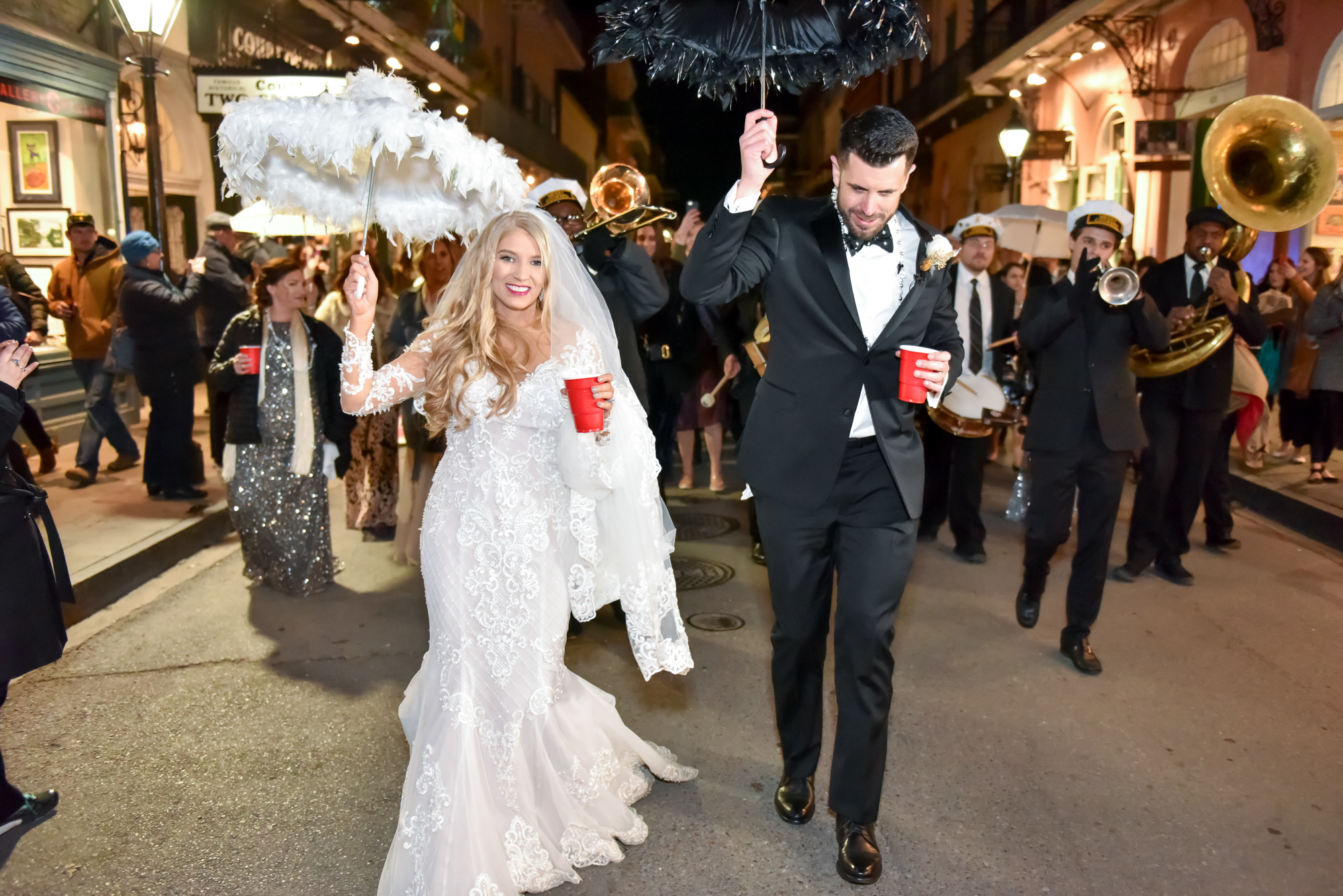 New Orleans wedding traditions, umbrellas, second line