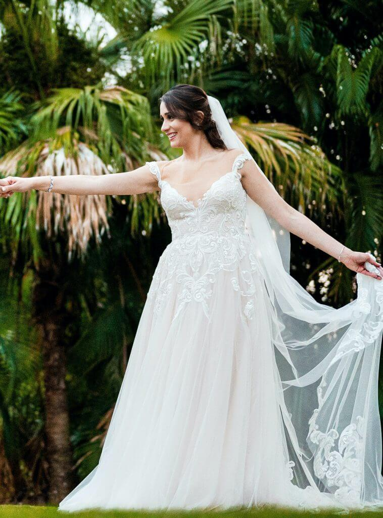 Anomalie creates online custom wedding dresses, including gowns with geometrics lace and a-line silhouette.