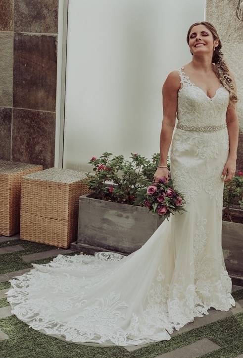 Brides can customize fit and flare or mermaid wedding dress with bold lace at Anomalie Online Wedding Dresses.