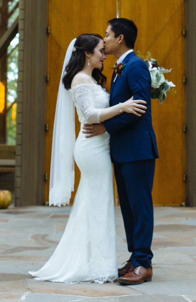 Brides can customize fit and flare or mermaid wedding dress with sheet lace at Anomalie Online Wedding Dresses.