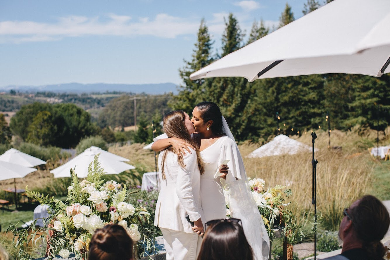 Big Sur wedding with Anomalie bride in custom wedding dress