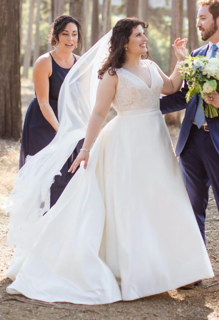 Anomalie creates online custom wedding dresses, including gowns with a-line silhouette, clean lines, and structured silk.