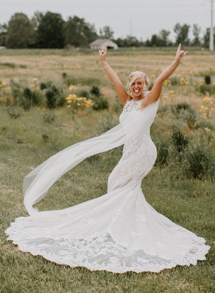 Brides can customize lace fit and flare or mermaid wedding dress at Anomalie Online Wedding Dresses.