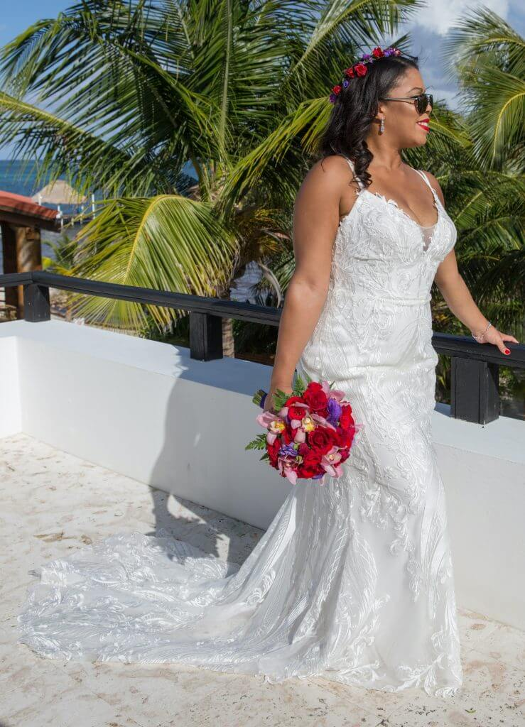 Brides can customize fit and flare or mermaid wedding dress with a plunging neckline at Anomalie Online Wedding Dresses.