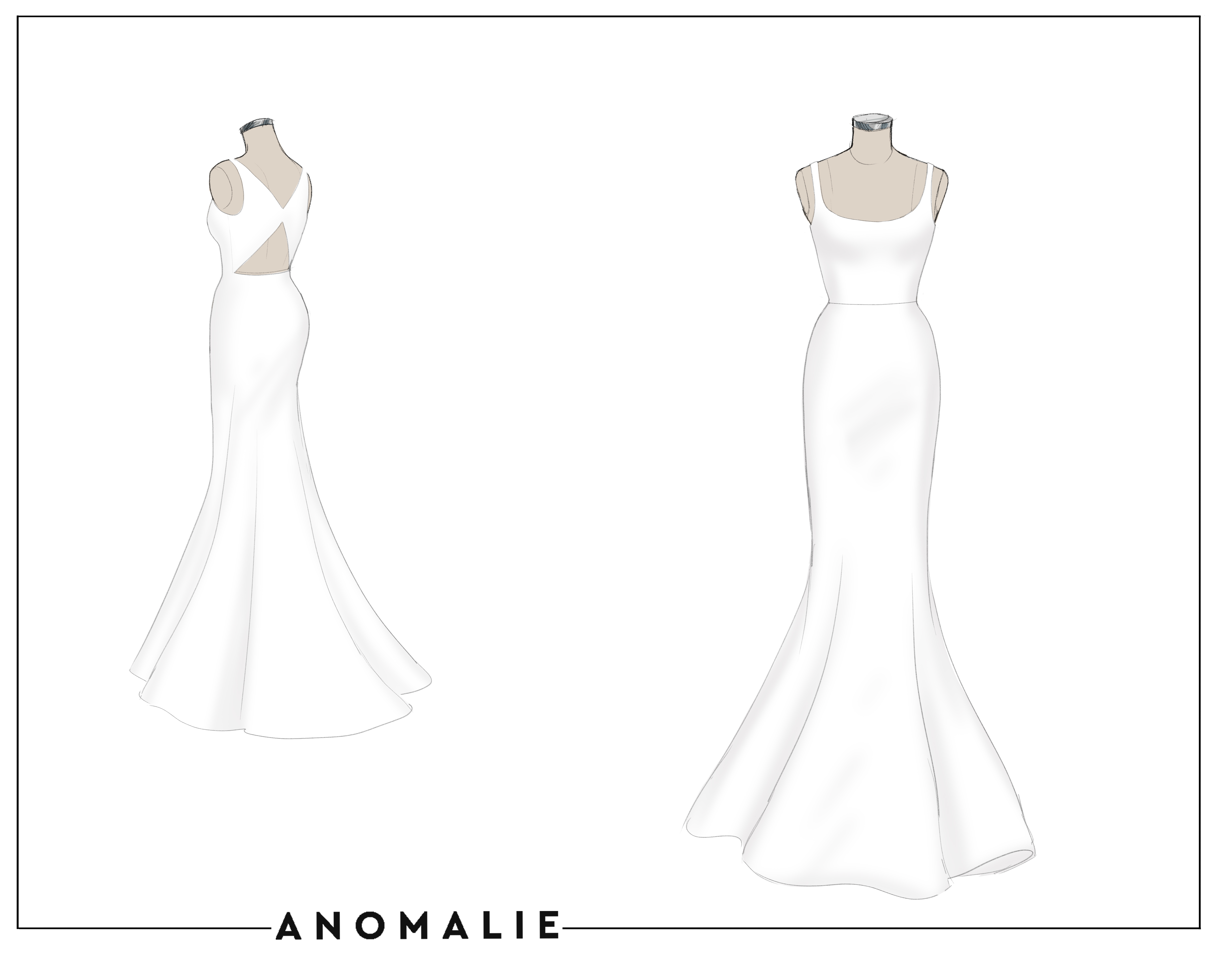 Custom made wedding dress sketch, fit and flare silk faille