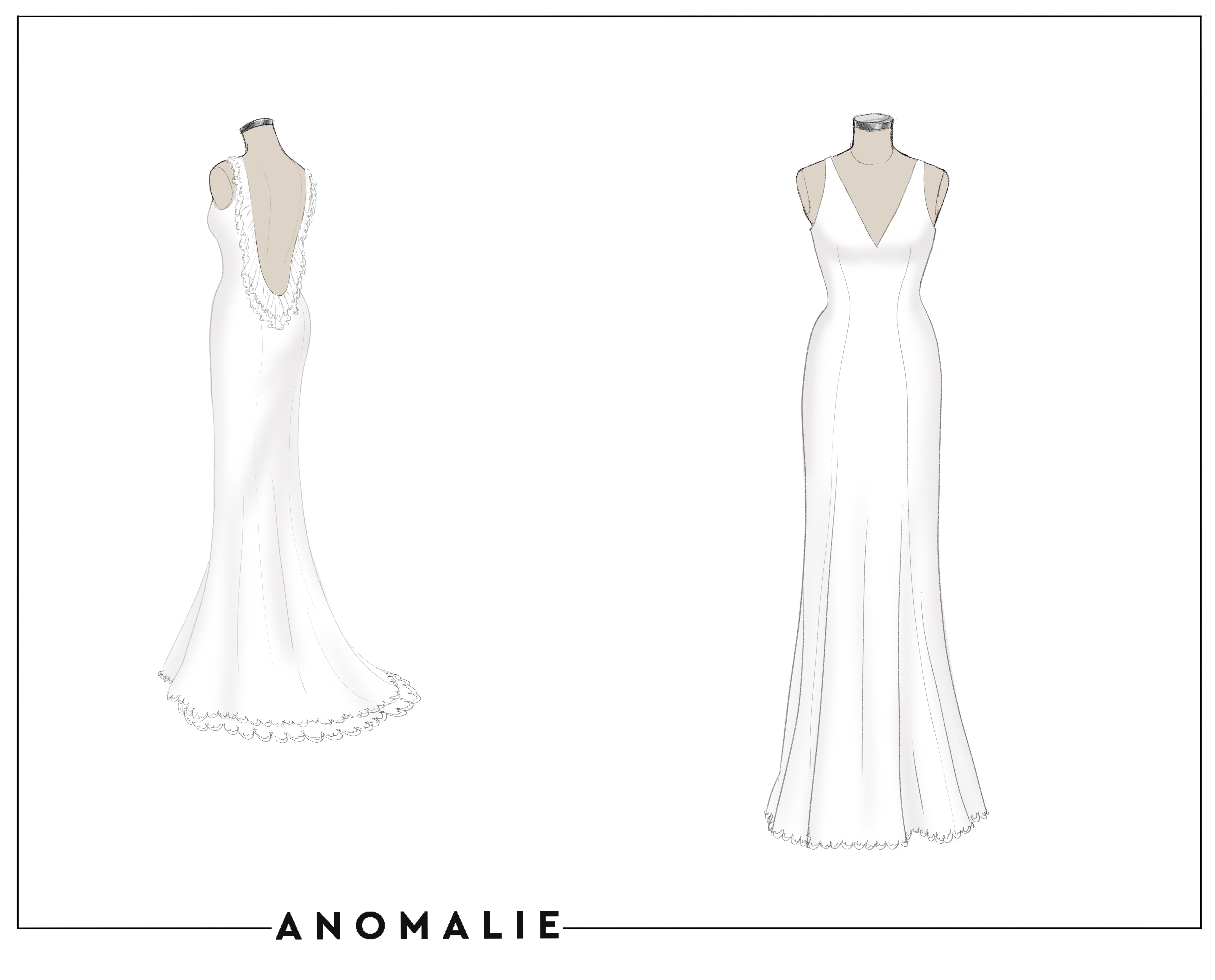 Anomalie sketch of the gown without the overskirt.