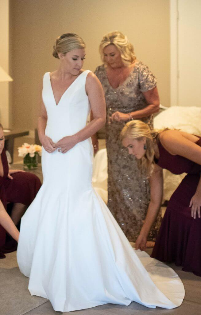 Brides can customize fit and flare or mermaid wedding dress with a voluminous flare at Anomalie Online Wedding Dresses.