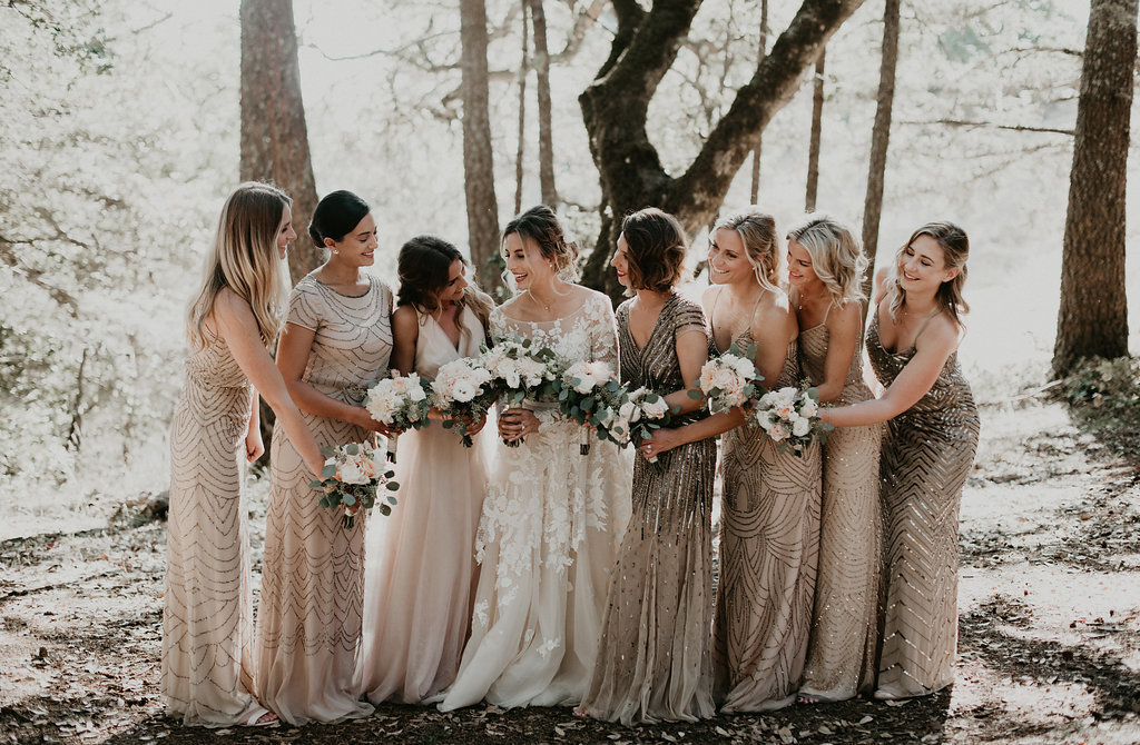 Gold Glitter Bridesmaids' Dresses