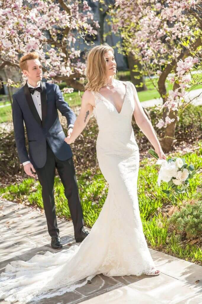 Brides can customize fit and flare or mermaid wedding dress with v-neckline and thin lace straps at Anomalie Online Wedding Dresses.