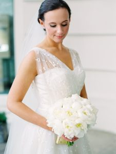 Wedding dress with white bouquet