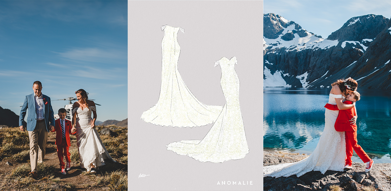 New Zealand Destination wedding, helicopter, custom online wedding dress, red suit