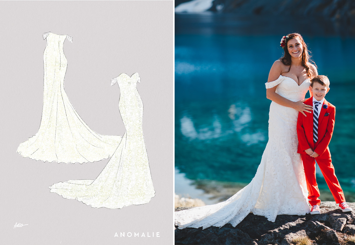 Anomalie sketch of fit and flare wedding gown for destination New Zealand wedding