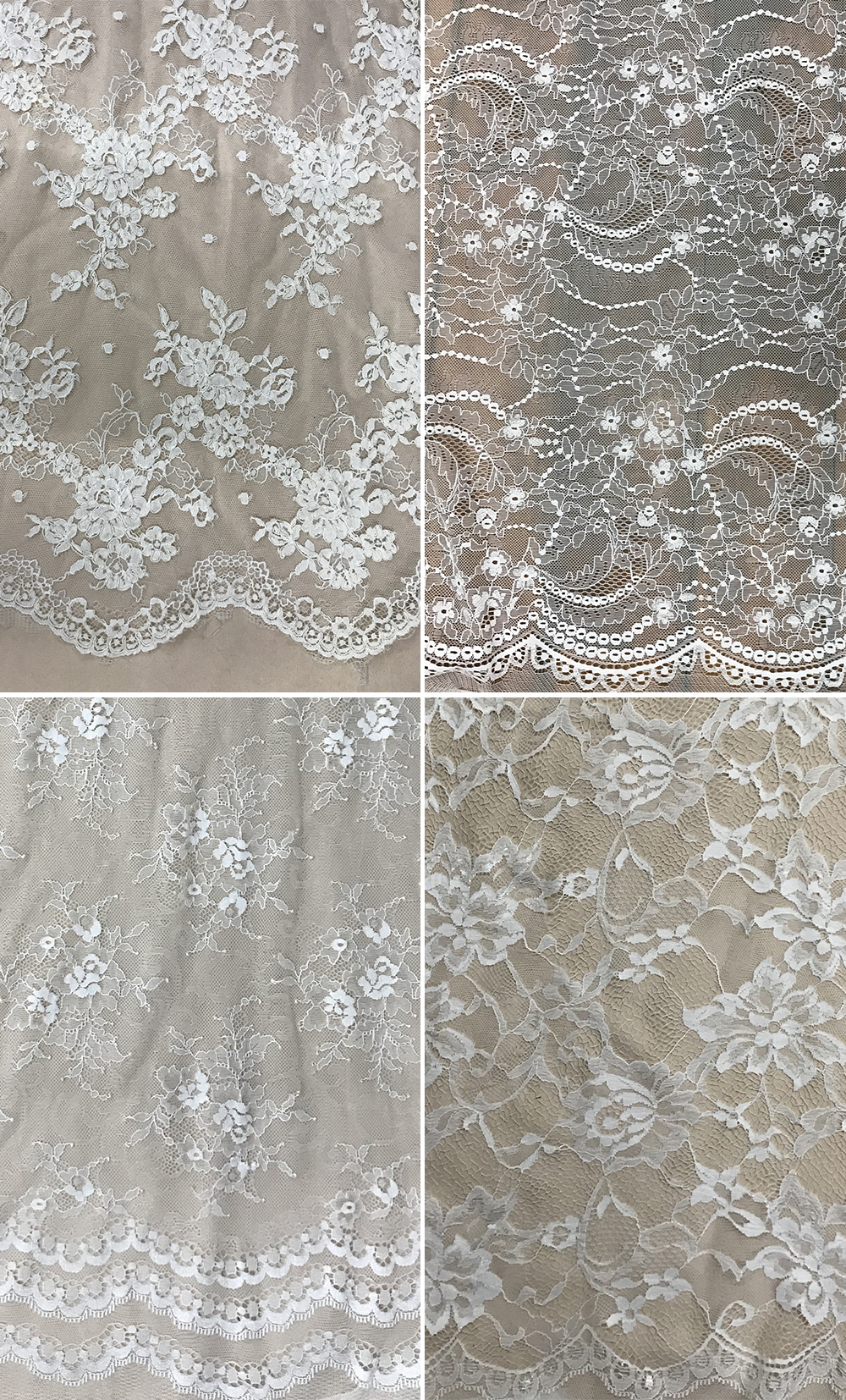 Samples of lace available from Anomalie for custom wedding gown.