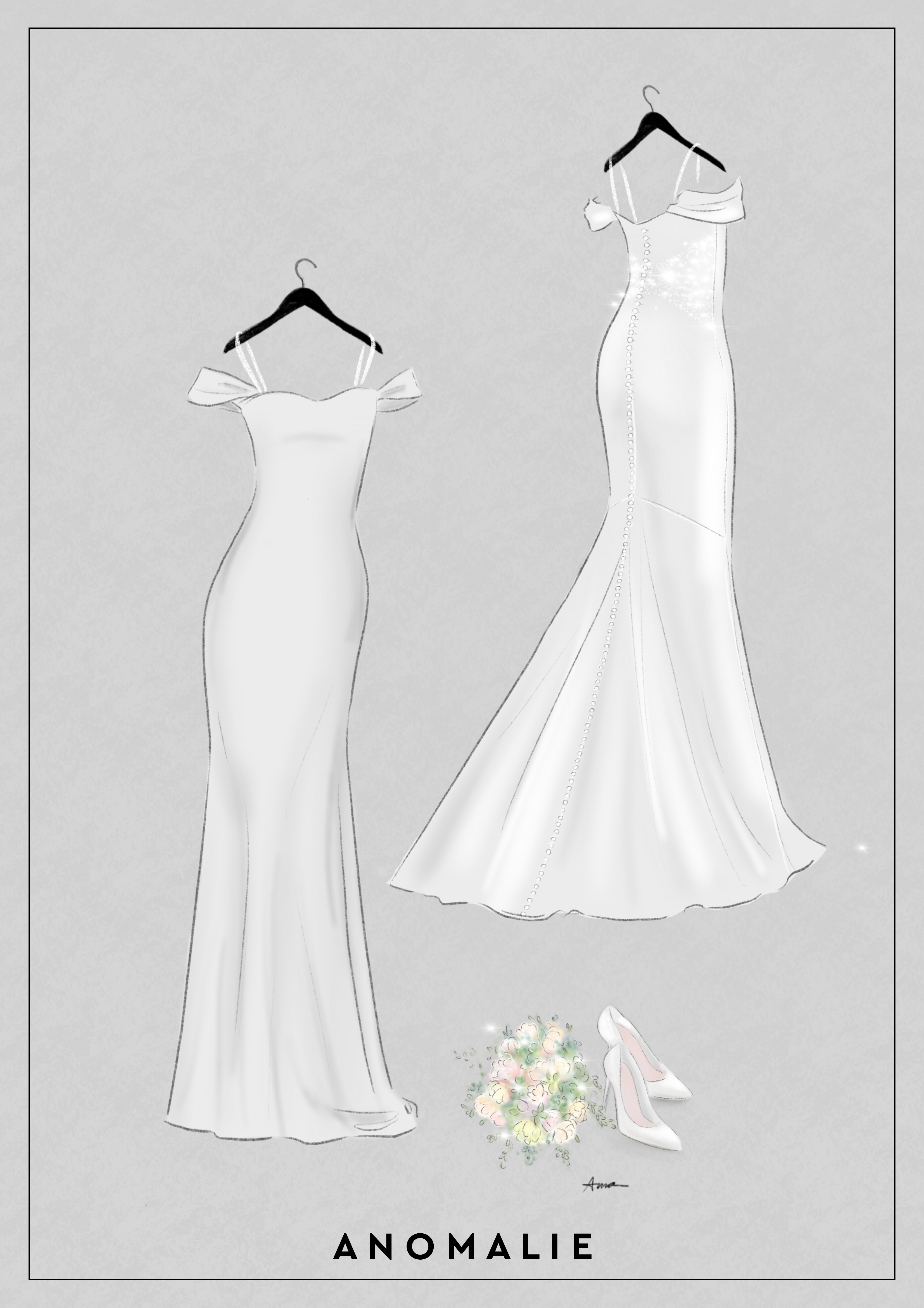 Spaghetti straps help hold up a wedding gown with off-the-shoulder sleeves