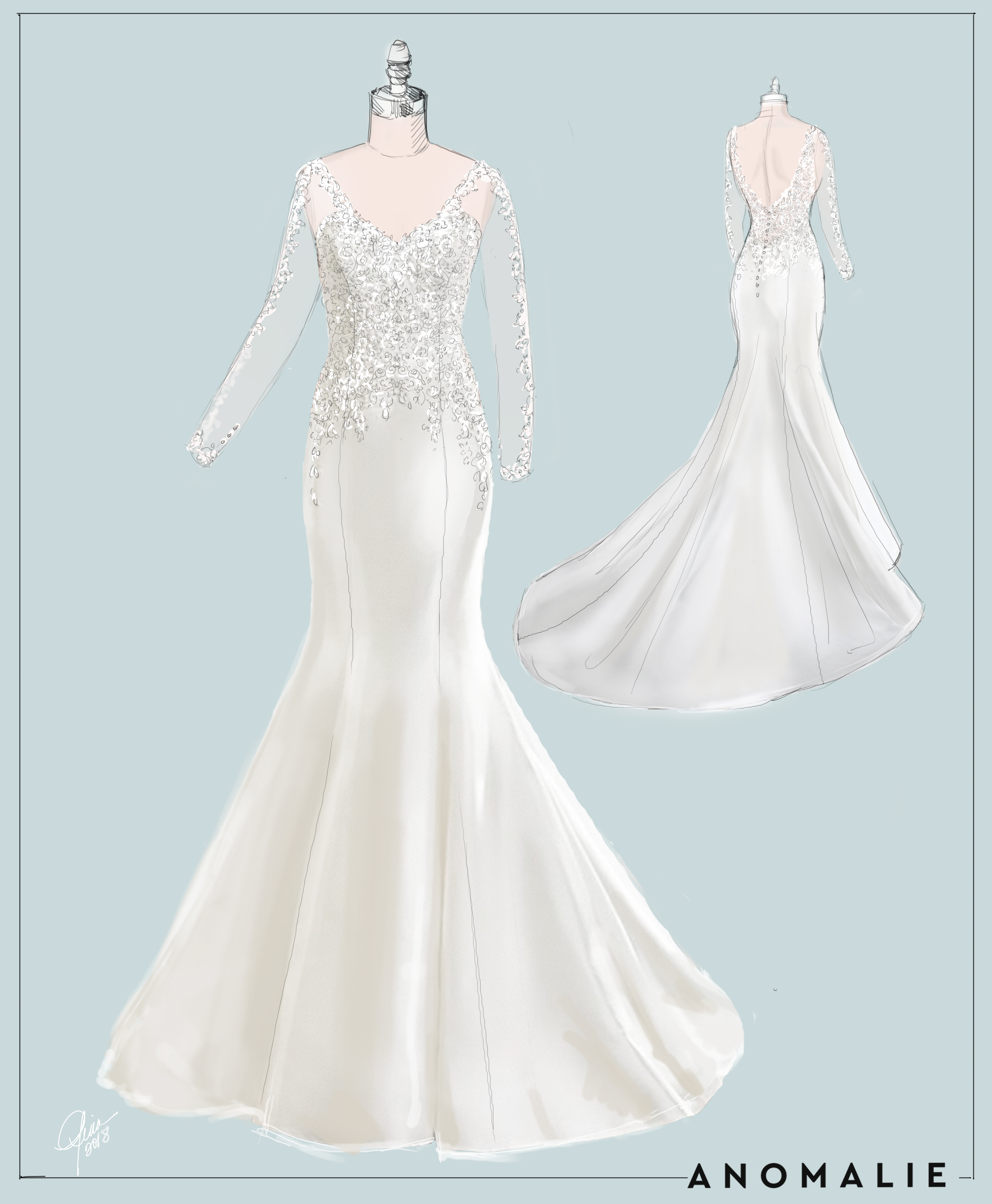 Sketch of custom Anomalie wedding dress with long lace sleeves and fit and flare silhouette