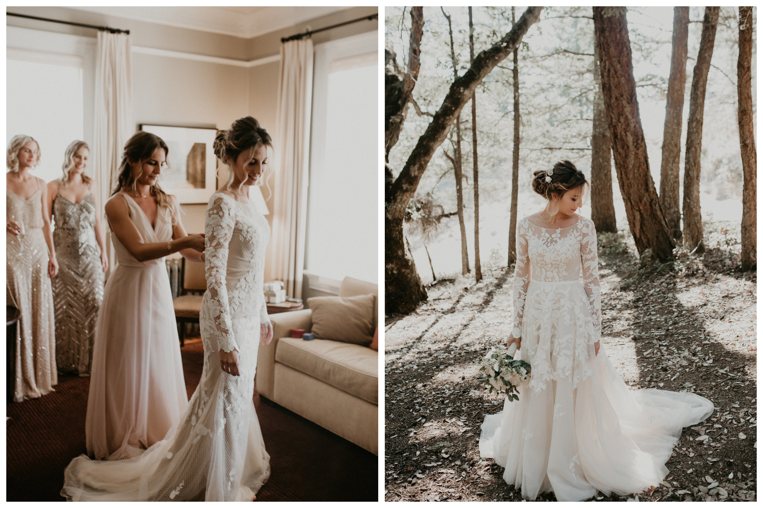 Blush lace wedding Gown with removable overskirt