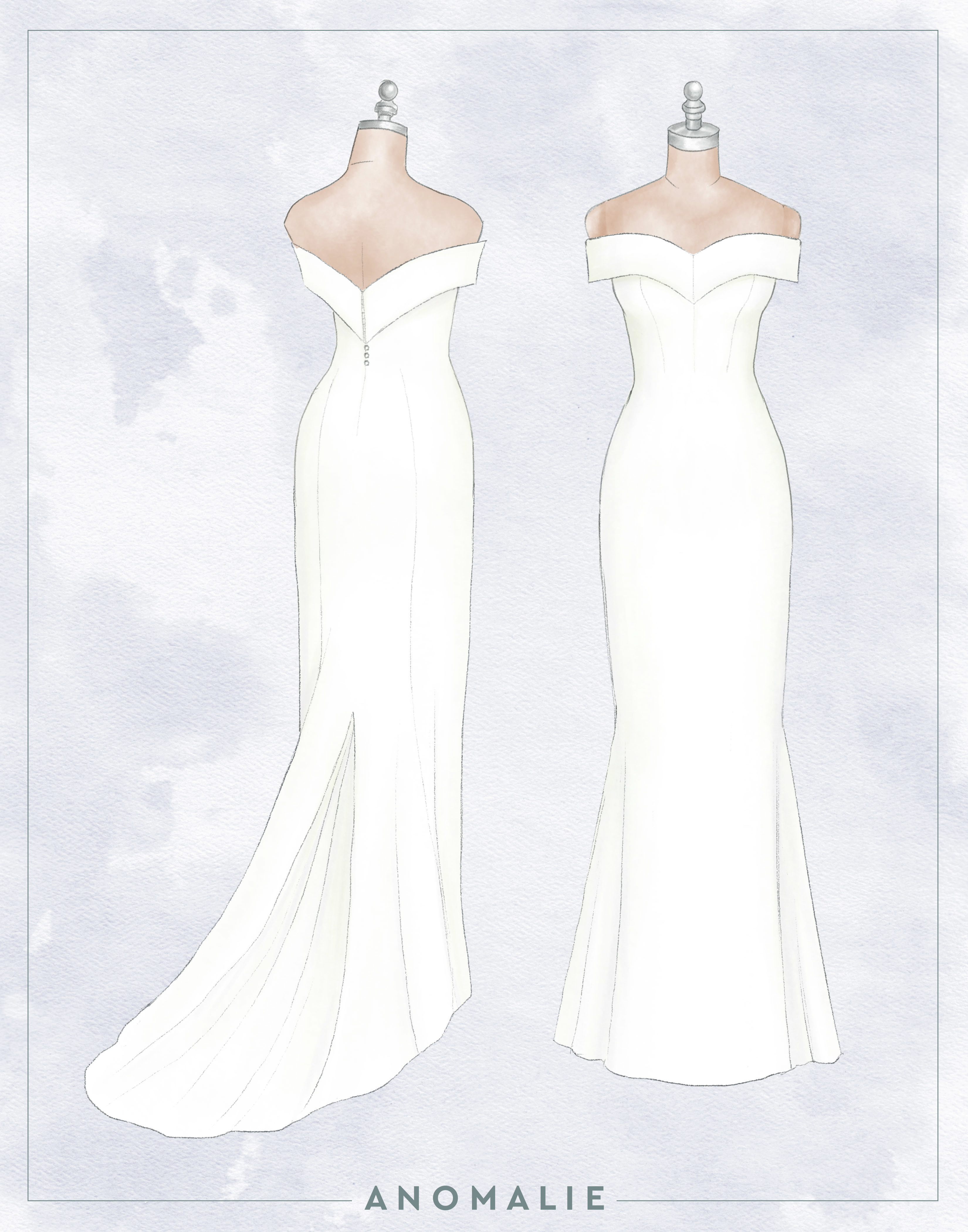 Custom sketch online wedding gown designed by Anomalie that is similar to Miley Cyrus
