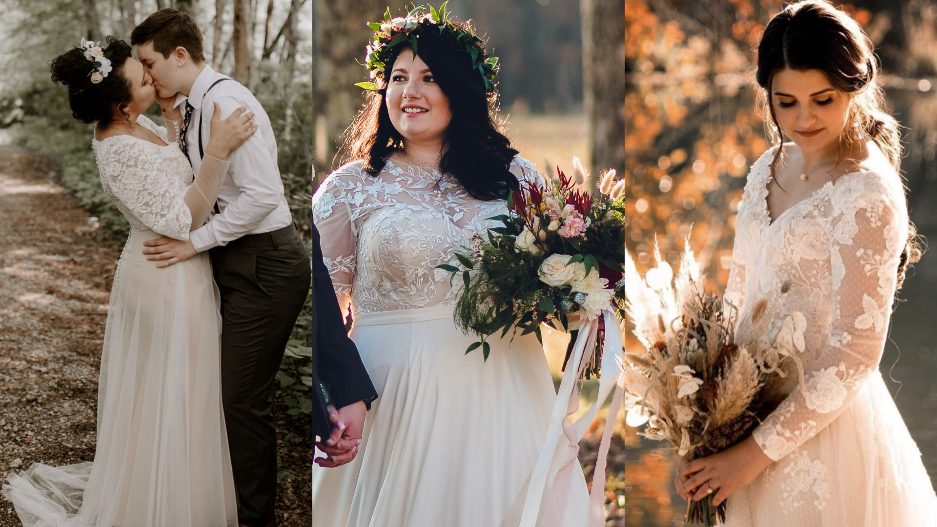Samantha is showing off her lace wedding dress in her forest wedding; Samantha is a plus size bride who is wearing a gorgeous wedding dress with sleeves; Nicole is outside in her sweetheart neckline bohemian wedding dress.