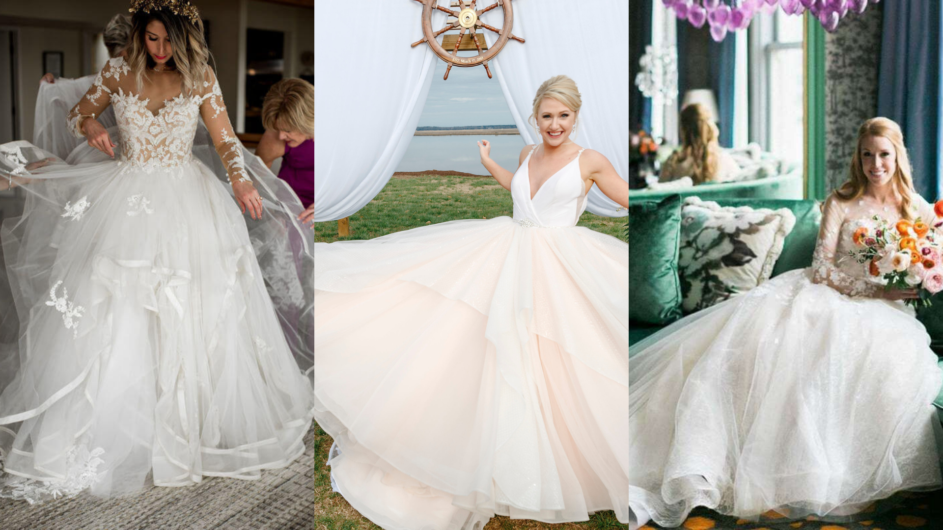 Ball gown wedding dresses for a bride's fairy tale wedding.