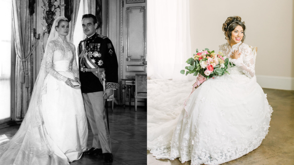 Grace Kelly is wearing a classic wedding dress with lace sleeves. On the right, an Anomalie bride is wearing a wedding dress with long lace sleeves she bought online.