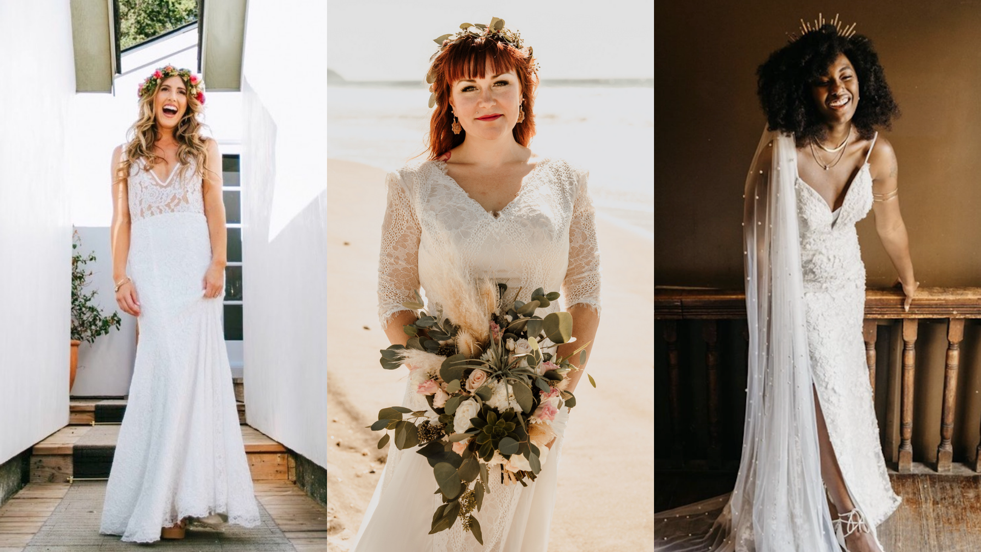 Lindsey is wearing a sleek wedding dress with a sweetheart neckline, Courtney is wearing an etherial bohemian wedding dress with sleeves, Janice is wearing a wedding gown with a slit.