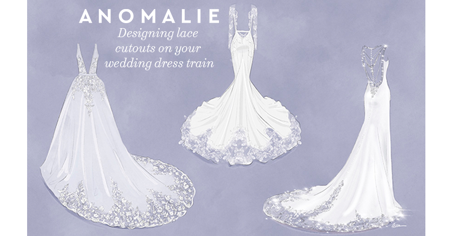 lace cutouts on wedding dress train, anomalie