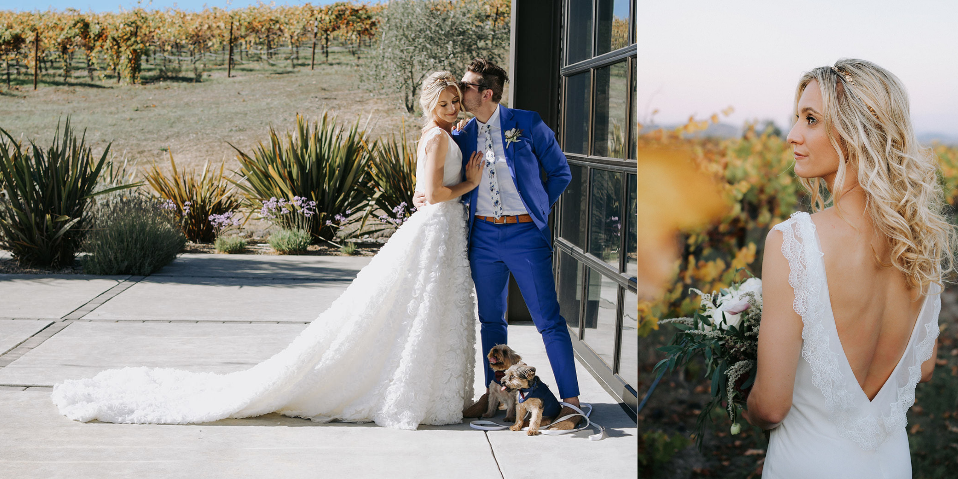 Left: The bride and the groom, holding each other with their pups at their feet. Right: The bride flaunts her back in her low-back, lace-trimmed dress.