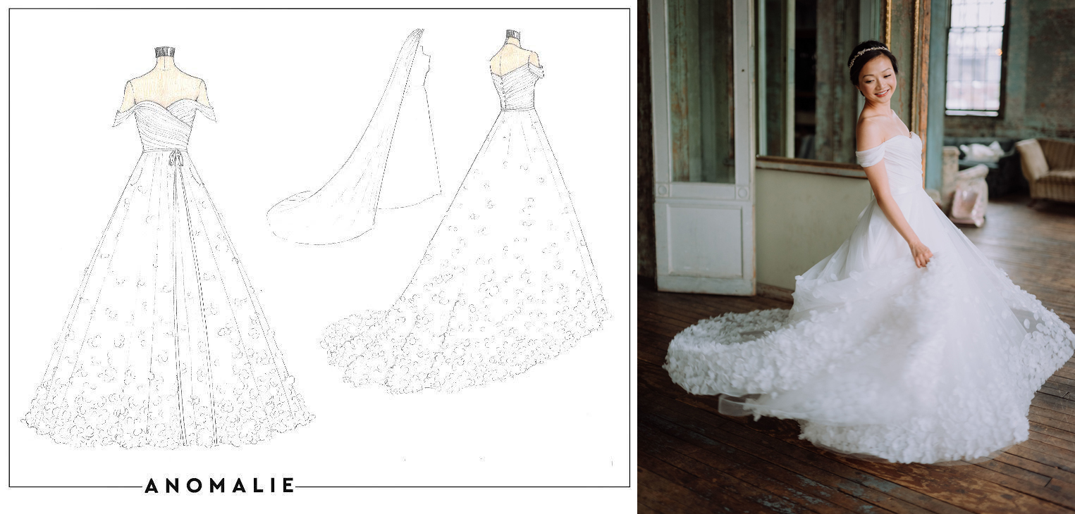 Ruched sleeves and a sweetheart neckline on a custom wedding dress