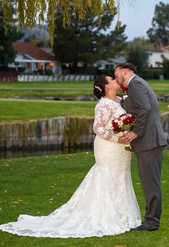 Brides can customize fit and flare or mermaid wedding dress at Anomalie Online Wedding Dresses. Add long sleeves.