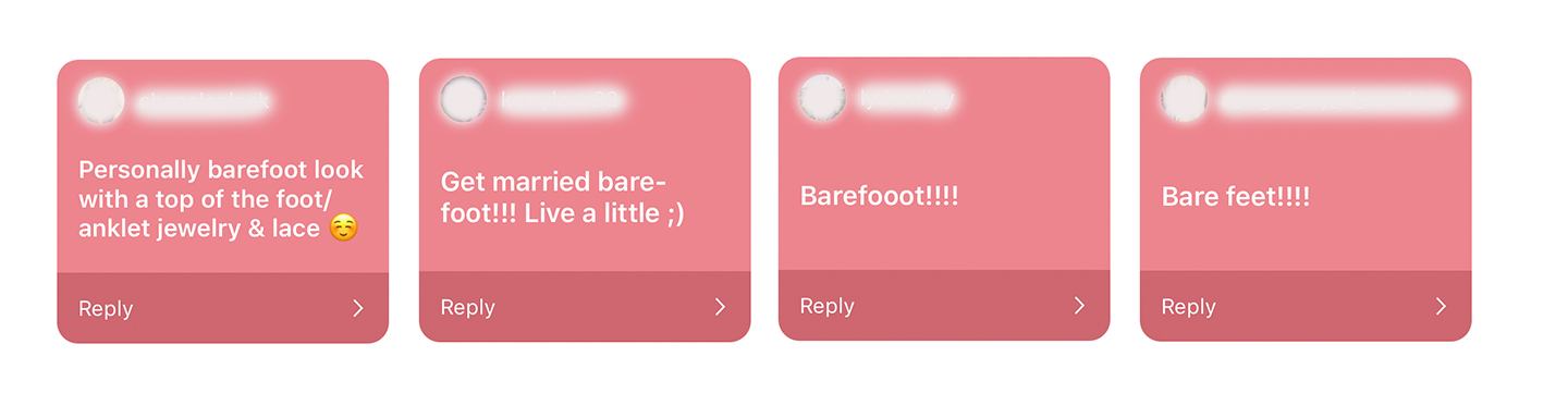 Screenshot of Instagram poll with brides praising the barefoot look!