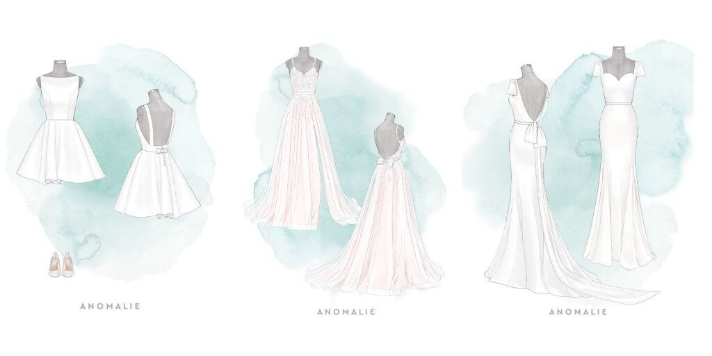 Side by side of Anomalie sketches: three different dresses featuring statement bows.