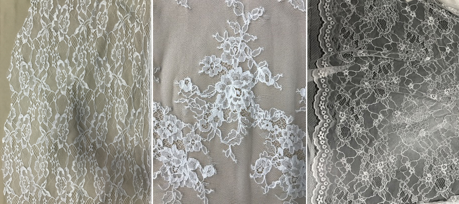 Chantilly lace samples used for second layer in wedding dress