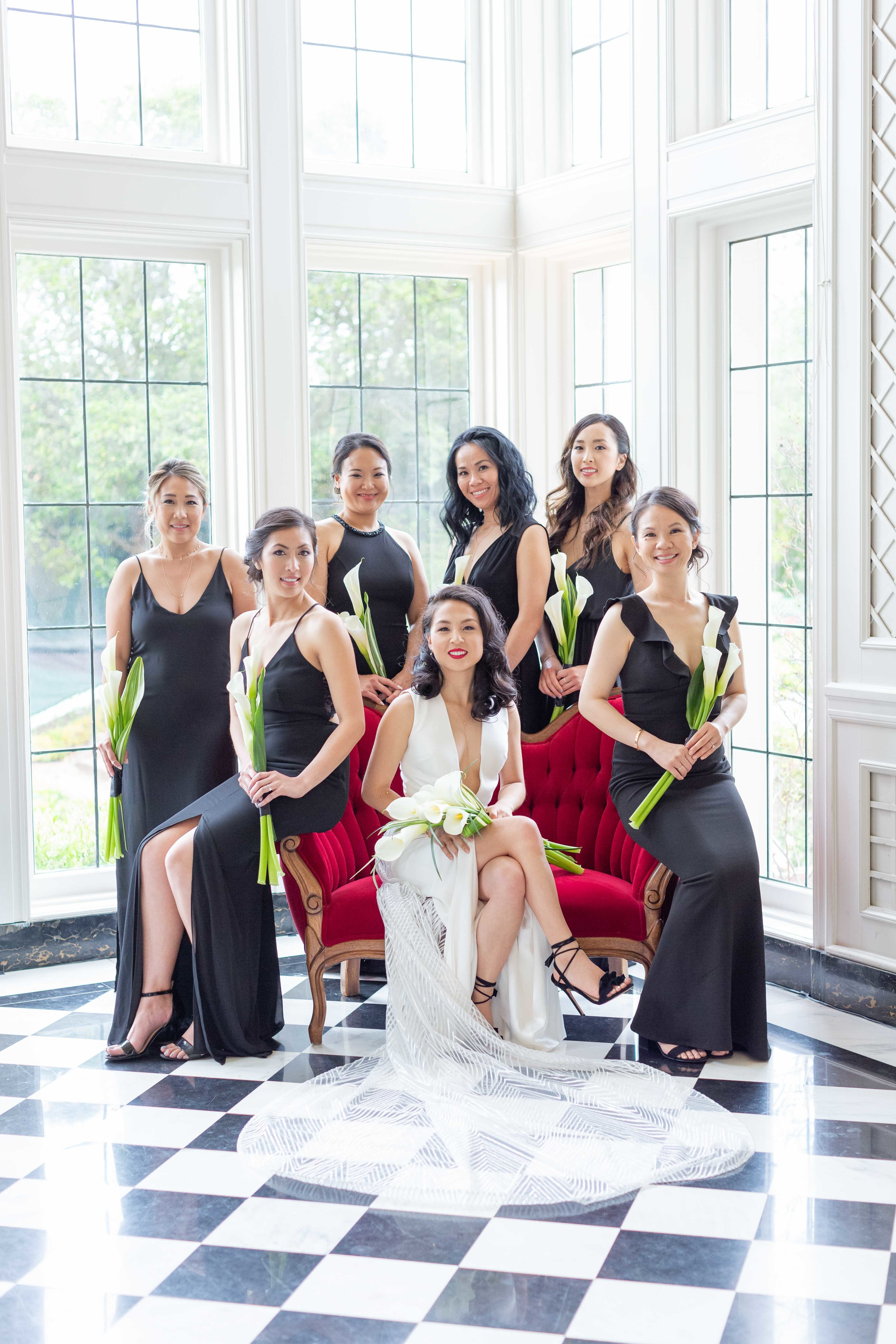 Black and white bridal party bridesmaid dresses.