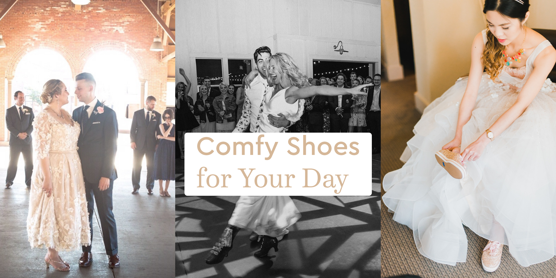 Brides wearing comfy shoes: kitten heels, boots and sparkly sneakers!
