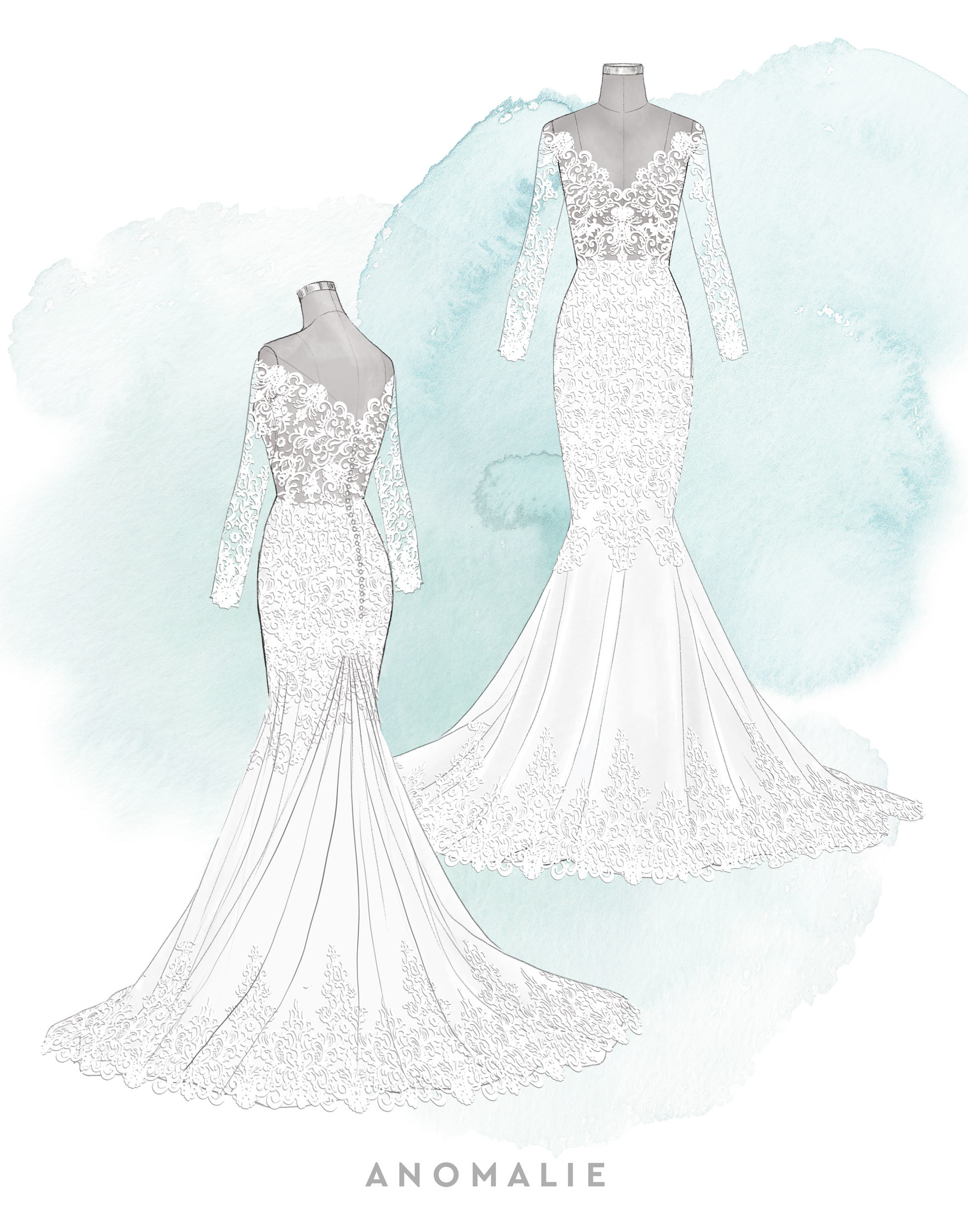 Anomalie sketch featuring an exposed-bodice lace gown.