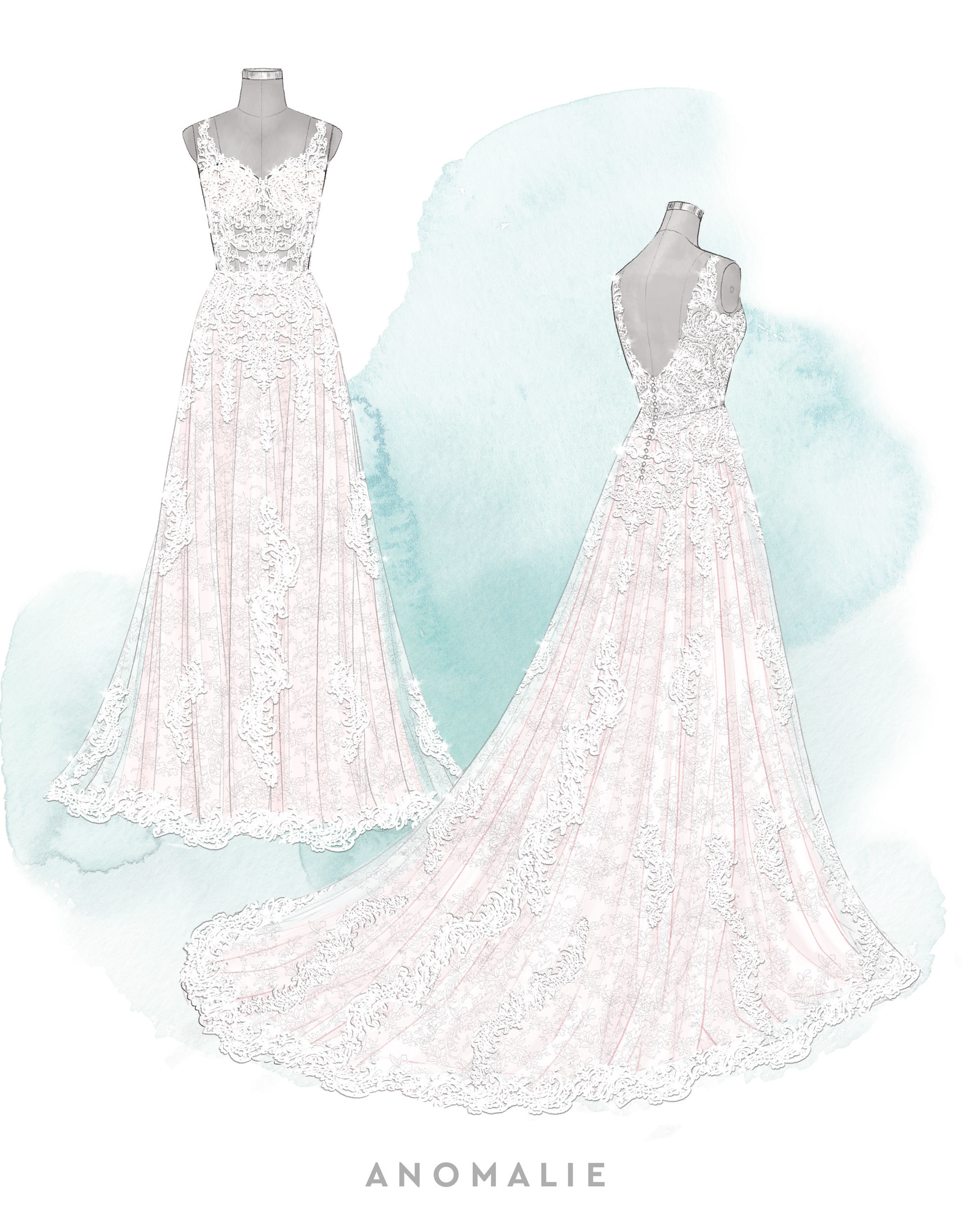 Anomalie sketch featuring a sleeveless lace dress with an exposed bodice.