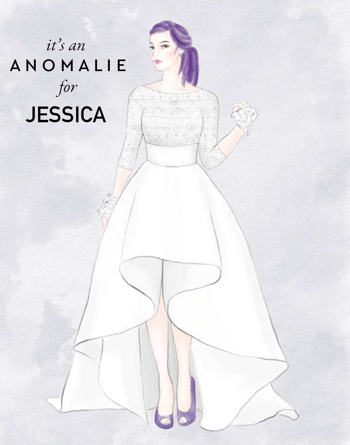 Anomalie dress sketch featuring a fully lined gown in the front.
