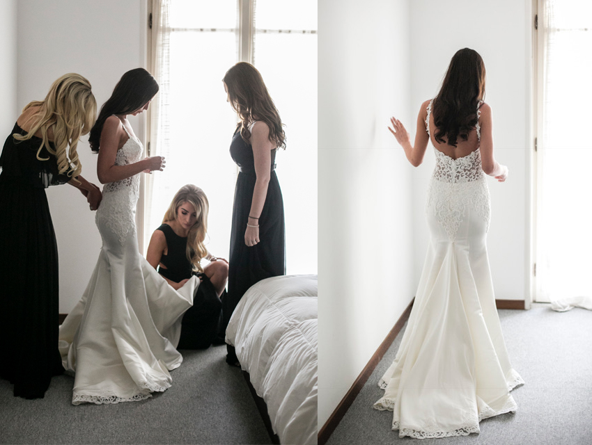 Duchess satin fit and flare with beading custom structured wedding gown from Anomalie