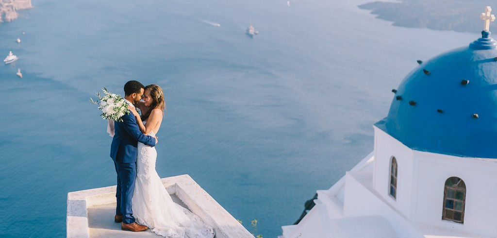 Santorini destination wedding photos