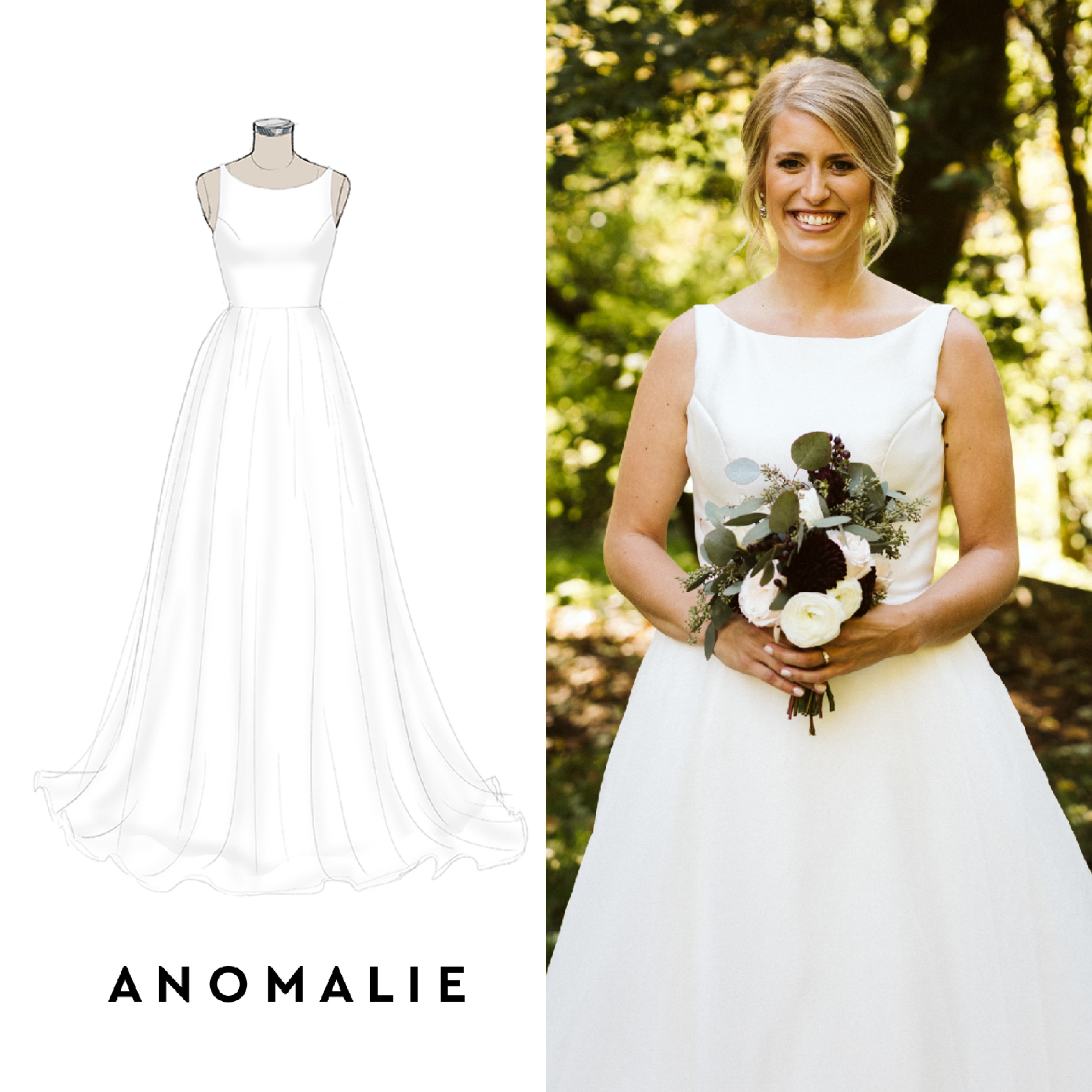 Anomalie online custom wedding dress, organza, silk mikado